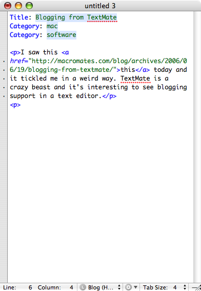 Textmate Blogging